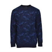 Montagut Premium Wool-blend Galaxy Crew Sweater SWM1120053 - Blue