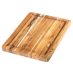 Teak Rec End Grain Board/w canal 35x25x2.5cm.