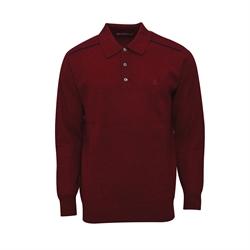 Montagut 頂級羊絨馬球領針織衫RM205001-棗紅色