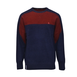 Montagut 對比色塊圓領羊絨針織衫RM205211-新藏青