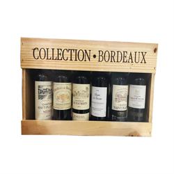 法國波爾多半支裝紅酒木盒珍藏版 375毫升x6支